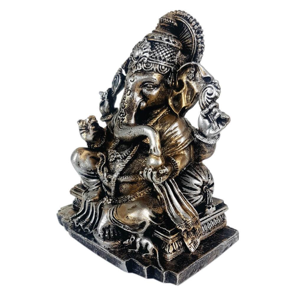 Estátua Ganesha médio com base cor estilizada