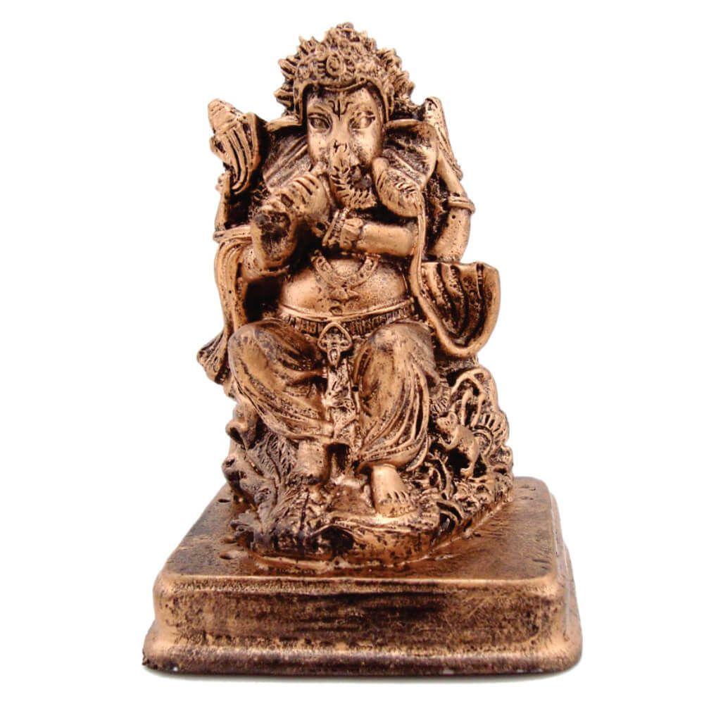 Estátua Ganesha Mini Com Base cor ouro