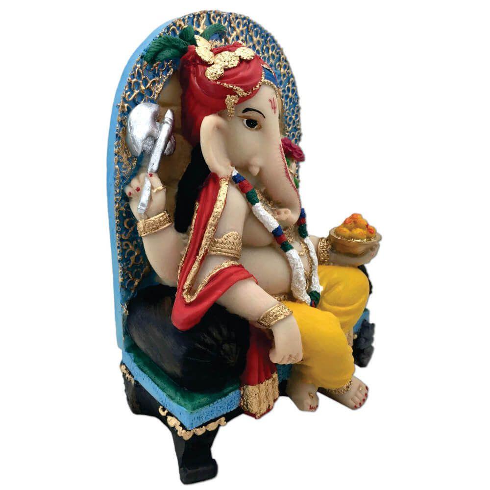 Estátua Ganesha Na Poltrona colorida decoração