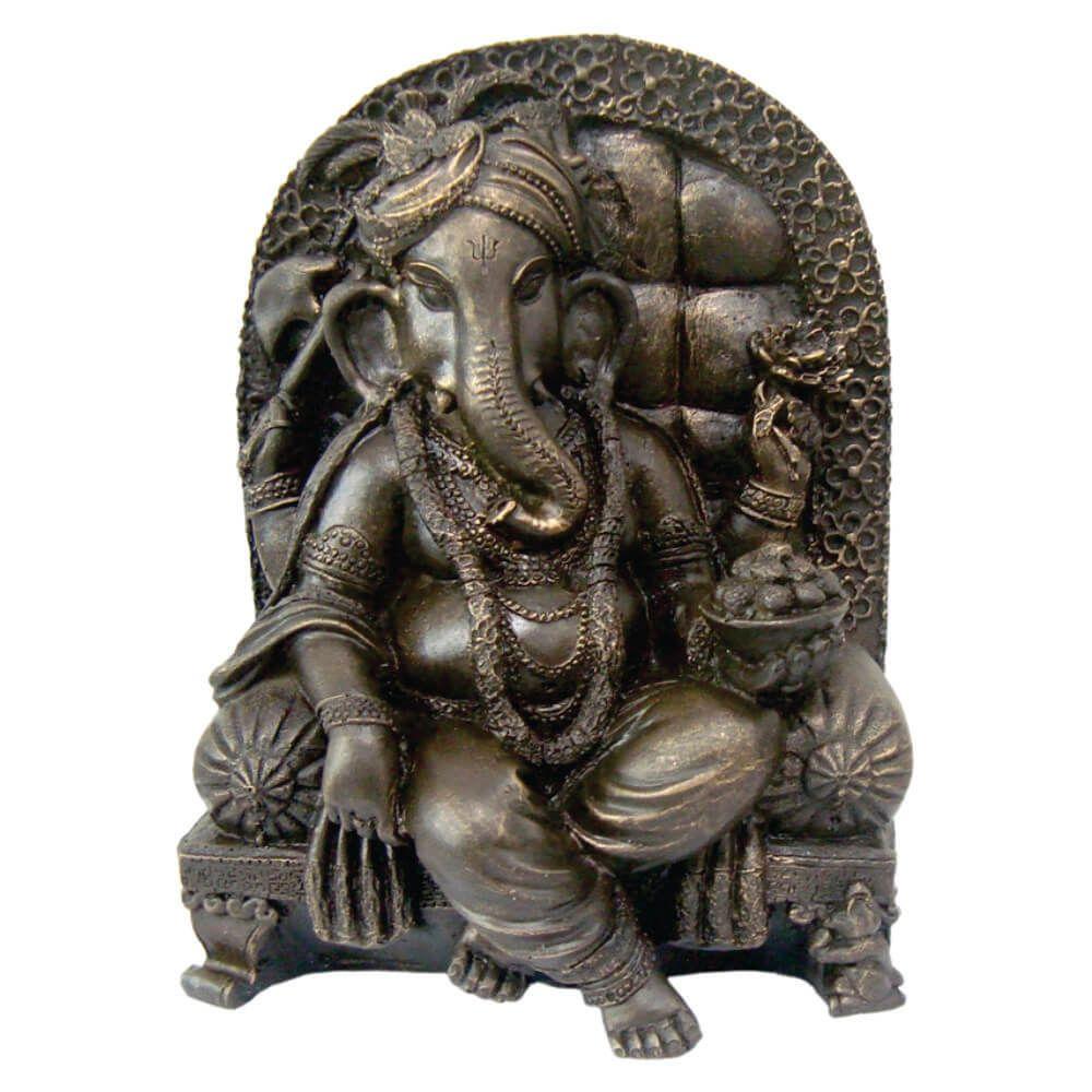 Estátua Ganesha Na Poltrona cor ouro envelhecido