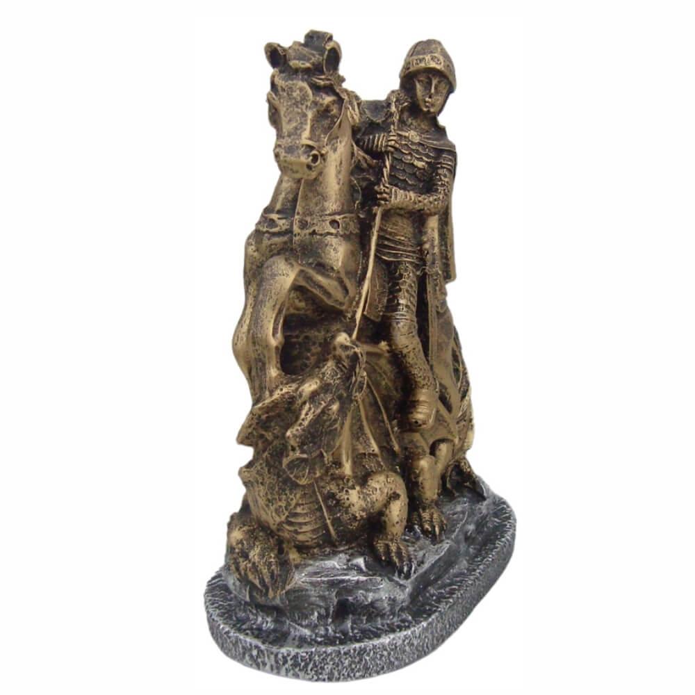Estátua São Jorge com Cavalo e Dragão Decorativo cor Ouro.