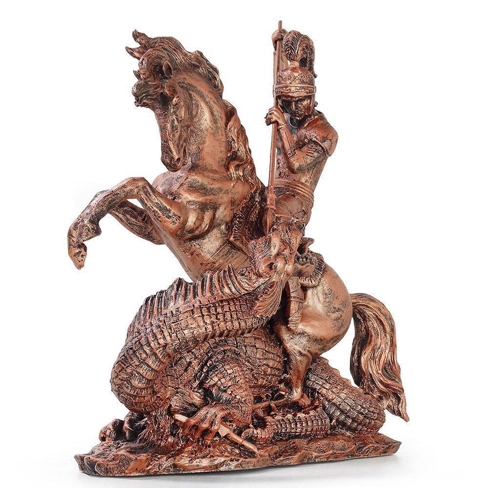 Estátua São Jorge com Cavalo e Dragão Ogum Decorativo cor Bronze