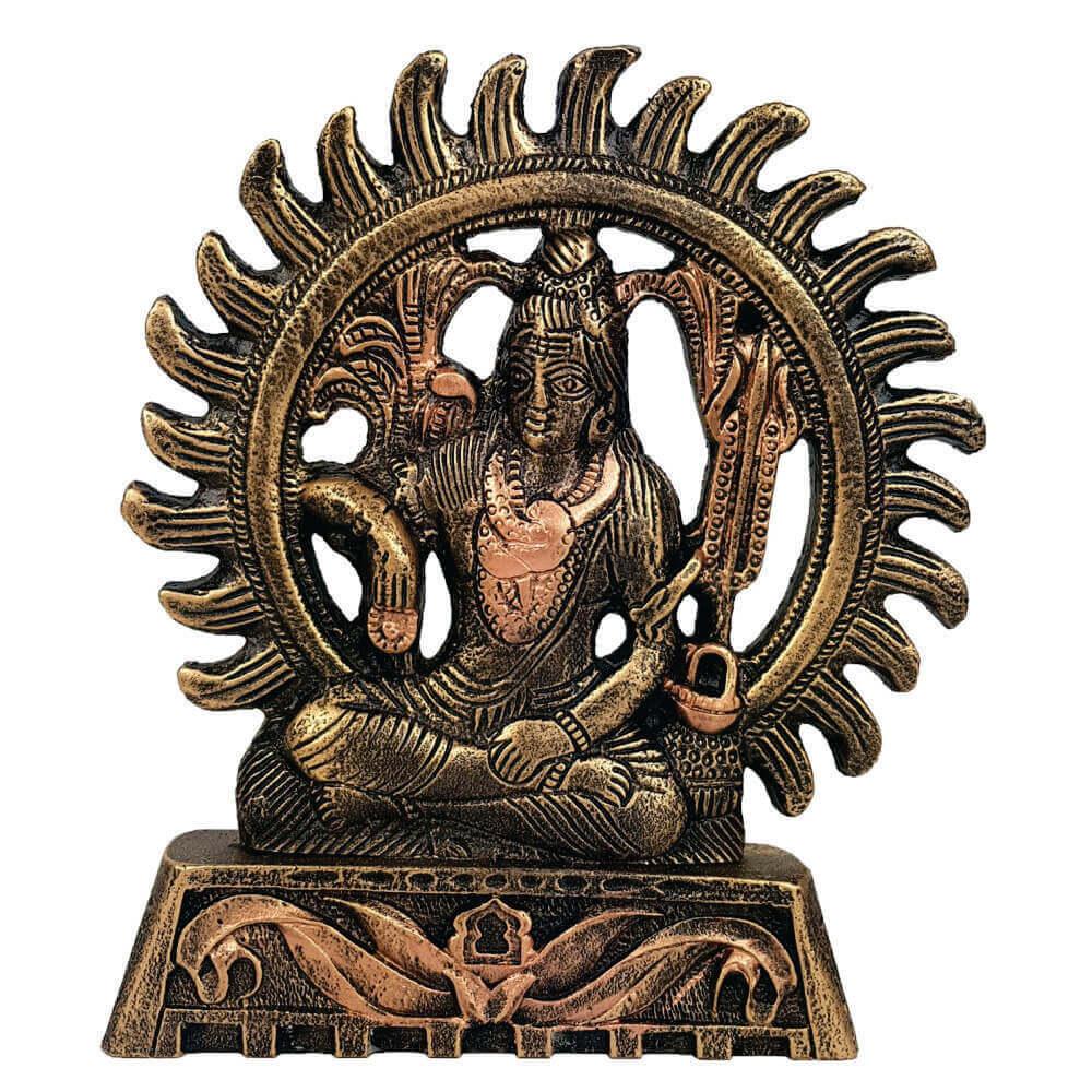 Estátua shiva no circulo de fogo cor ouro em resina
