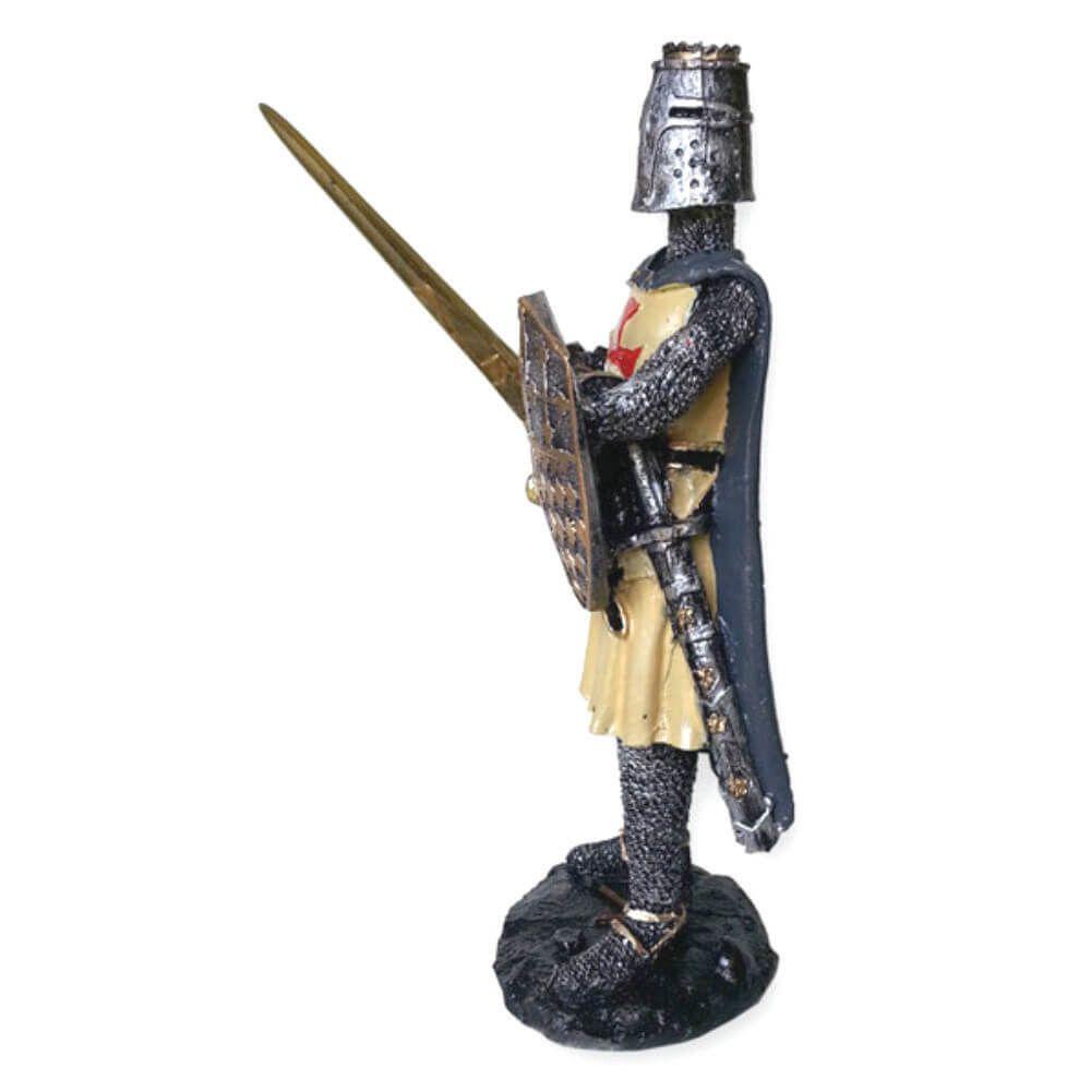 Estátua Soldado Medieval Guerreiro Espada Com Escudo.