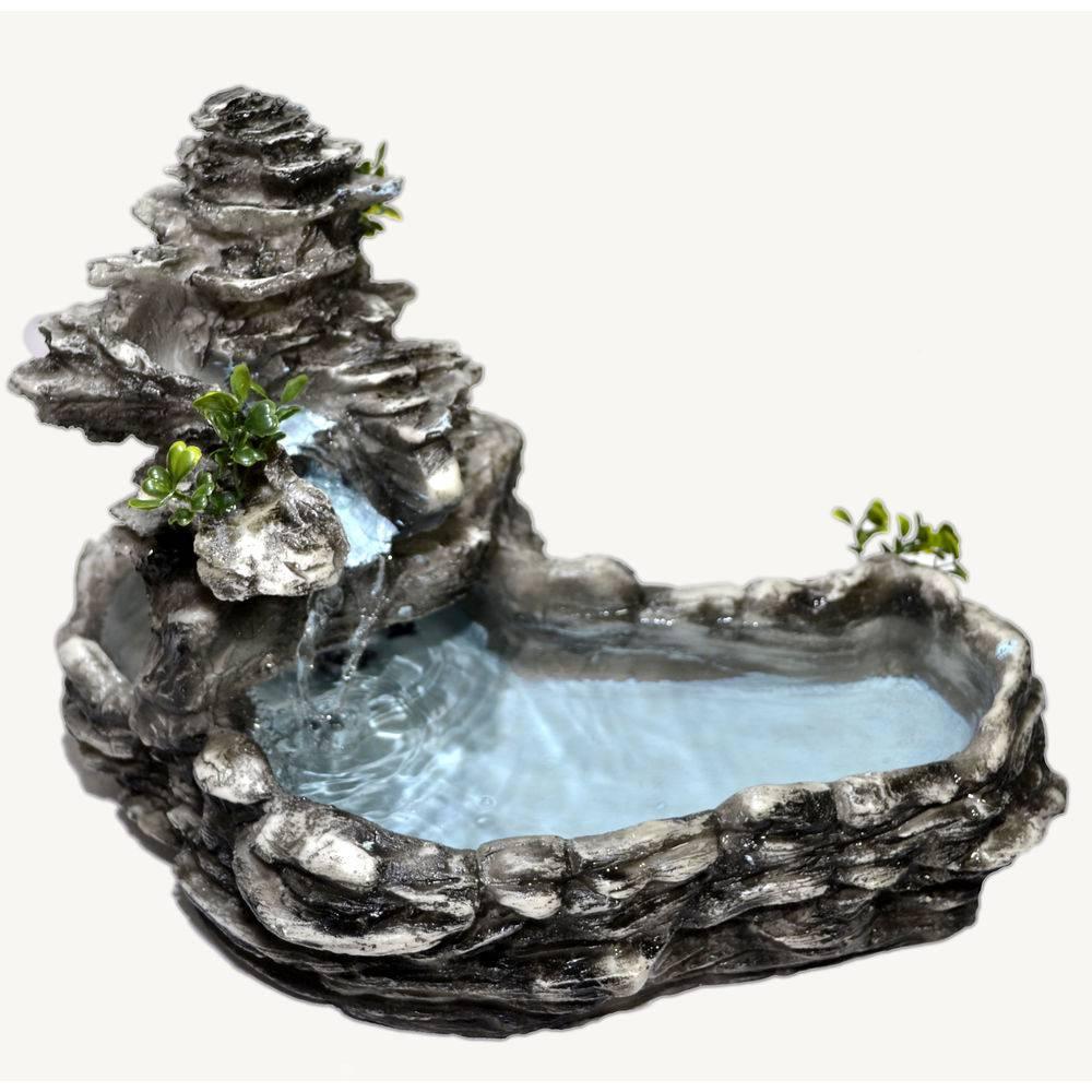 Fonte Agua Cascata decorativa Laguinho tipo pedra Cinza