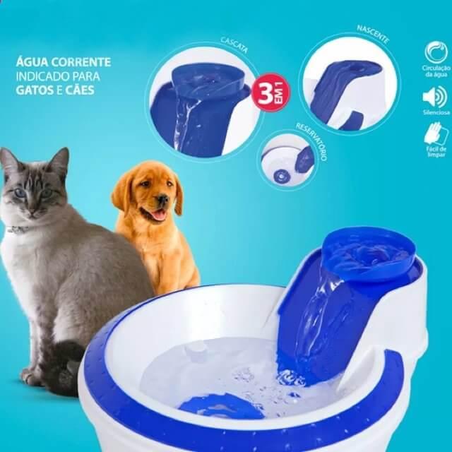 Fonte Bebedouro para gato ou cachorro com filtro Clássica Azul.