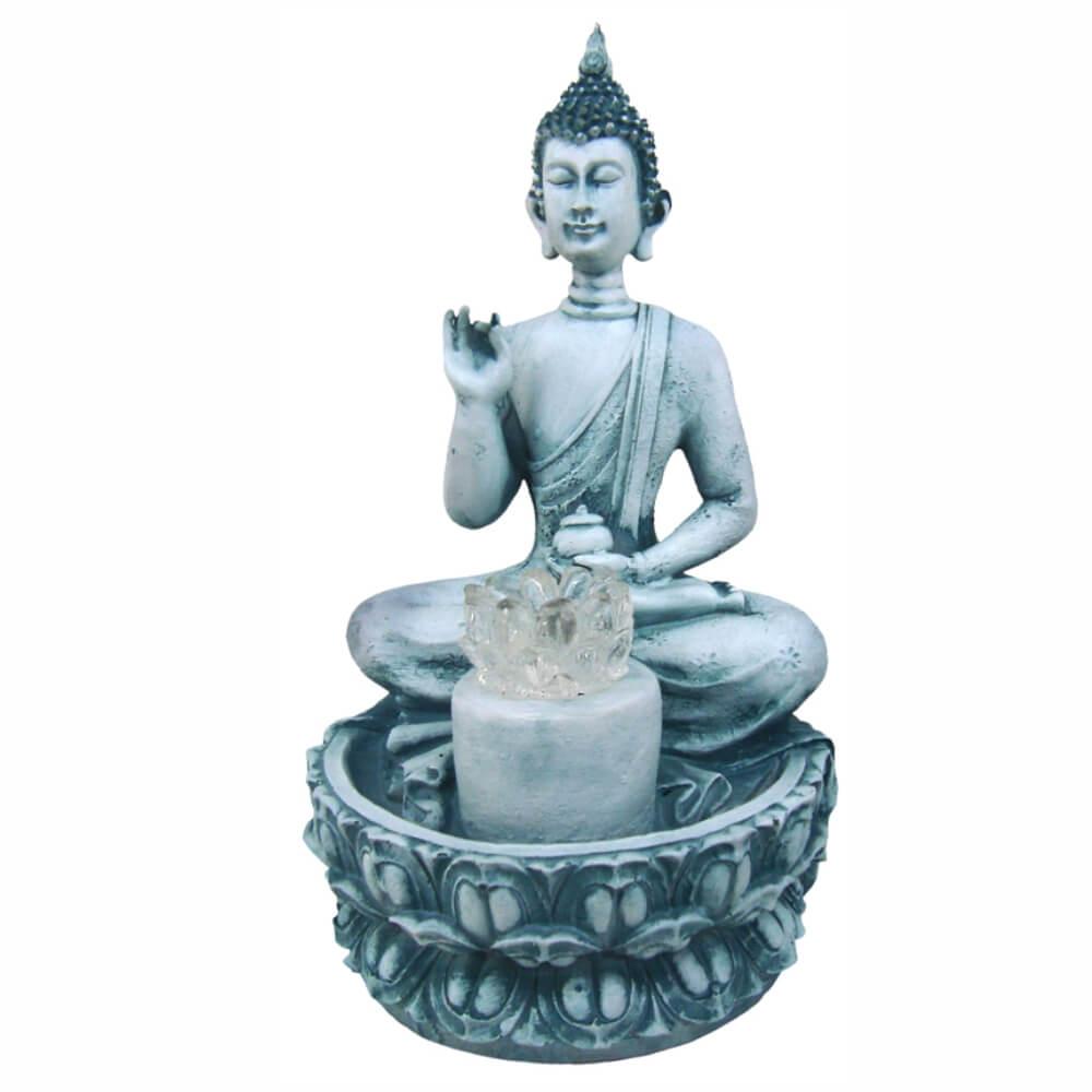 Fonte de água Buda flor de Lotus com luz colorida