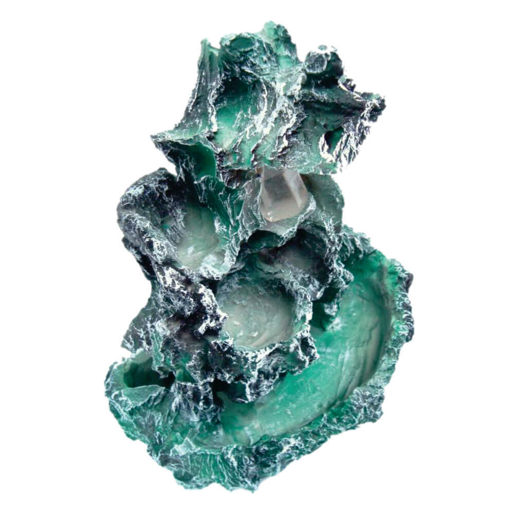 Fonte de água meteorito cascata com luz grande.