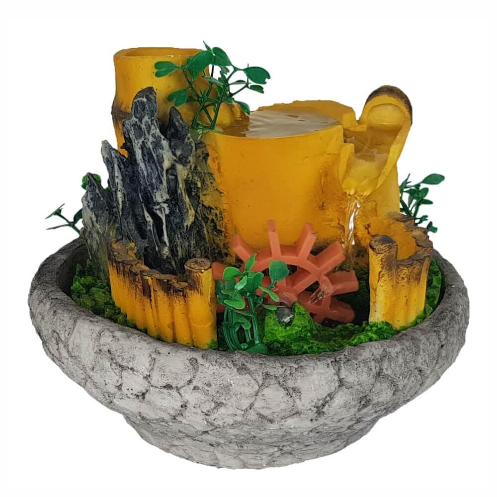 Fonte de água Cascata roda da água compacta mini