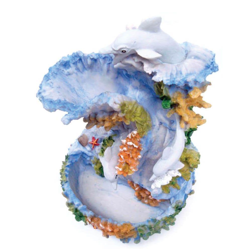 Fonte de água Golfinho fundo do mar grande azul.