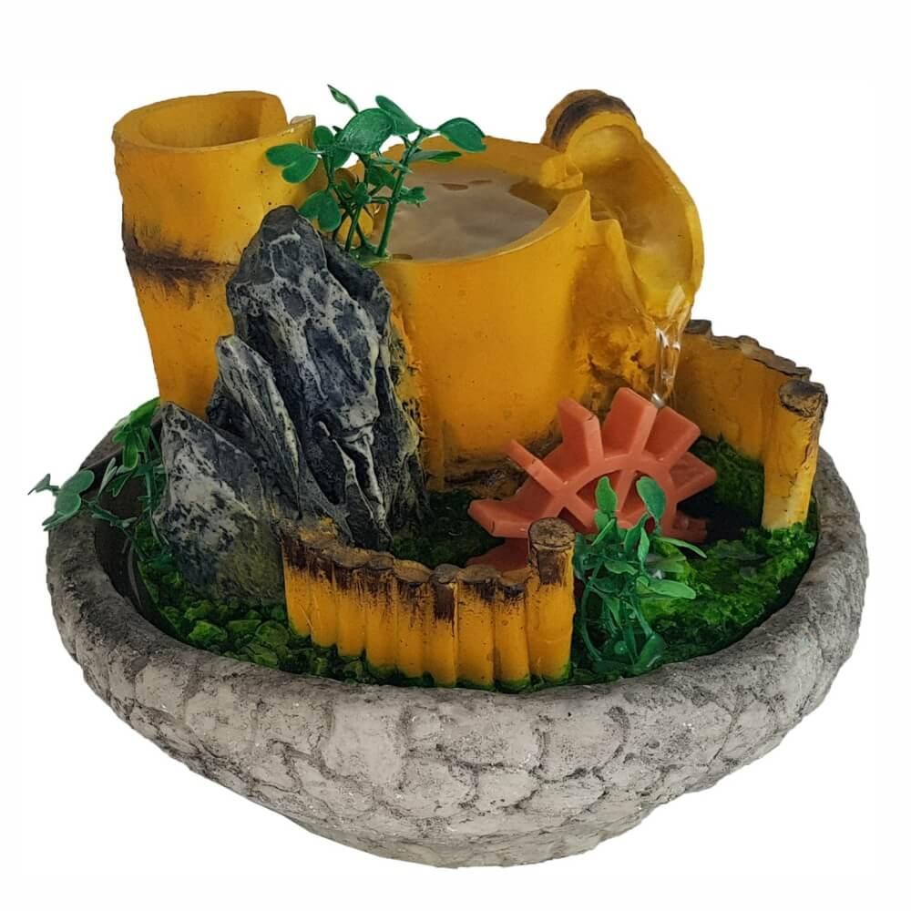 Fonte de água Cascata roda da água mini