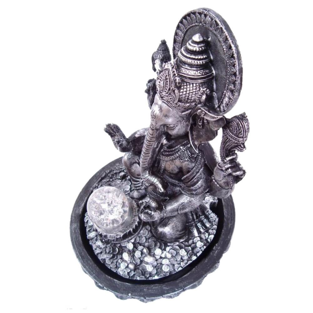 Fonte de água Ganesha com bola de vidro e Luz Colorida cor prata.