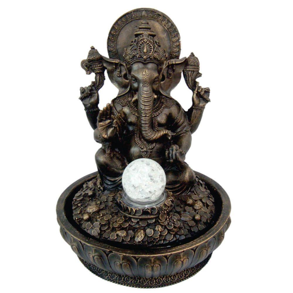 Fonte de água Ganesha com esfera e Luz Colorida cor ouro
