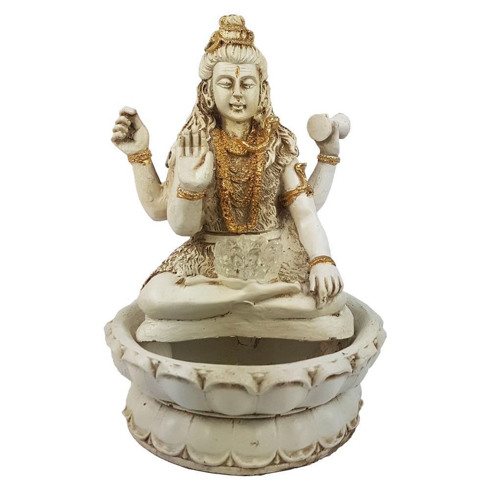 Fonte de água Shiva flor de lotus luz colorida shyva Branca
