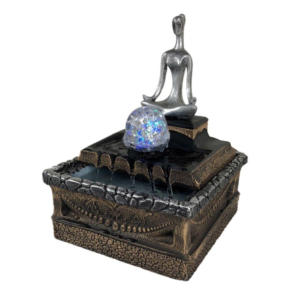 Fonte de água Yoga Feng Shui com bola de Vidro e Luz.
