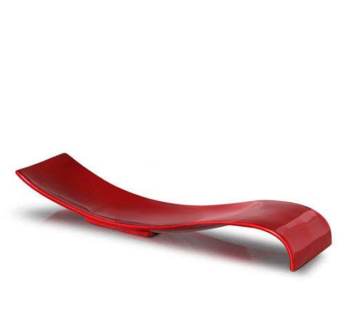 Fruteira de mesa modelo onda retangular na cor rubi.