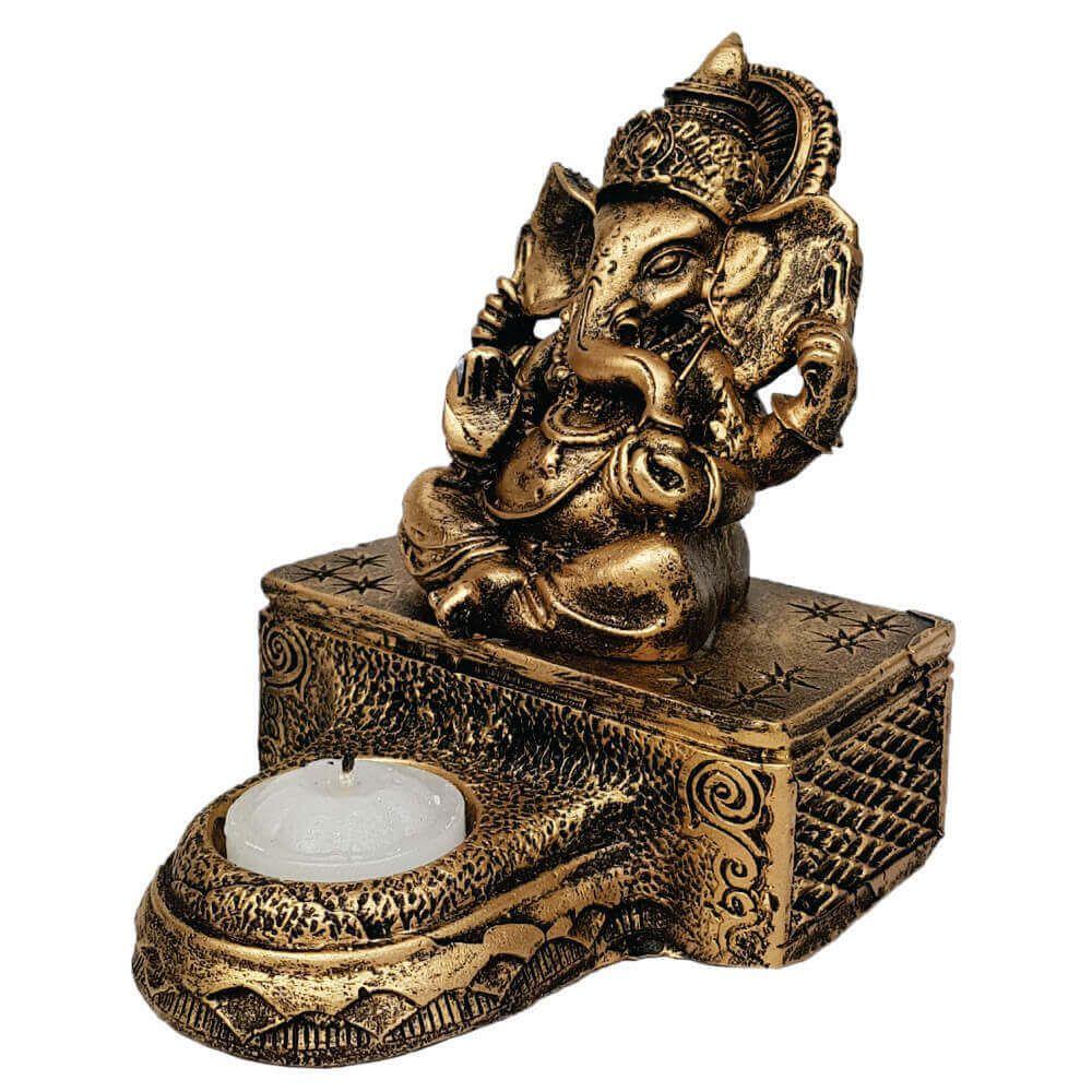 Ganesha com base e castiçal cor ouro.