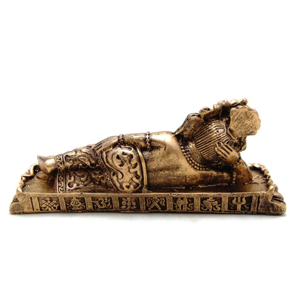 Estátua Ganesha Deitada cor ouro.
