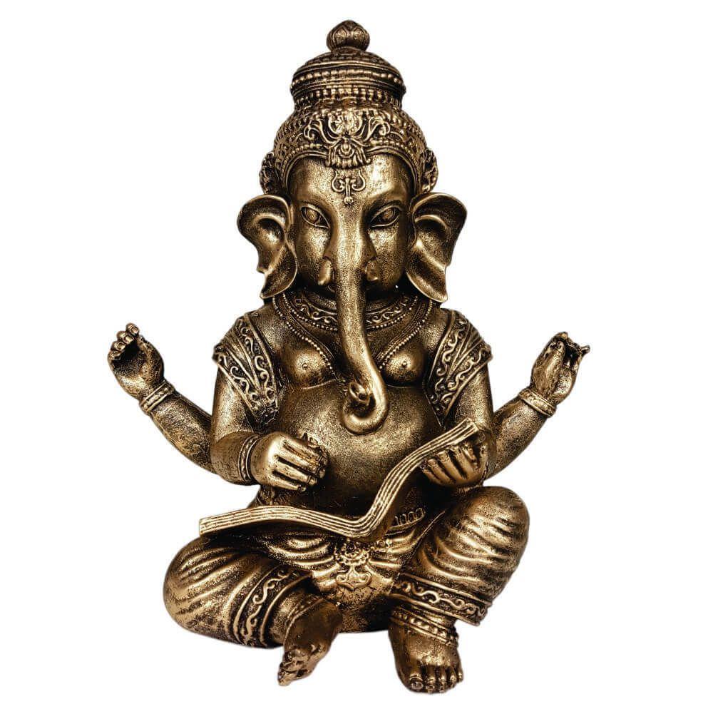 Ganesha grande com livro indiano cor ouro.