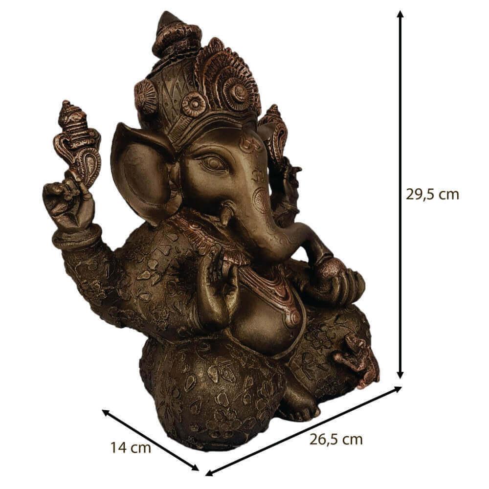 Ganesha grande cor ouro envelhecido.