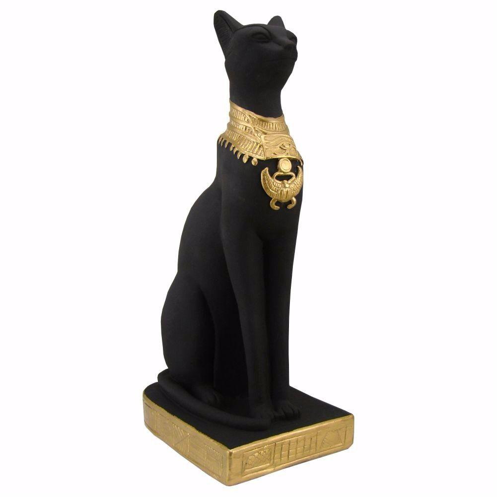 Gato Egípcio Preto grande Estatueta antigo egito.