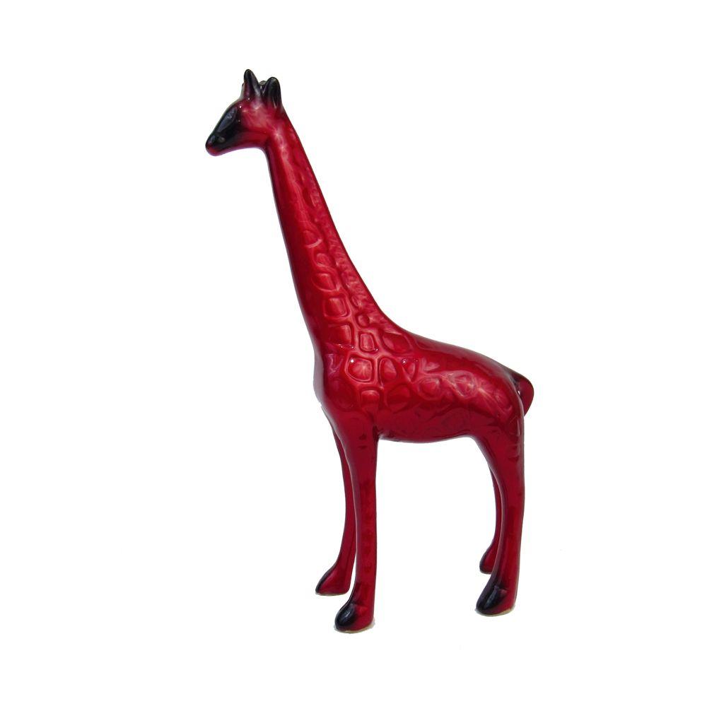 Girafa Grande  em cerâmica na cor vermelha