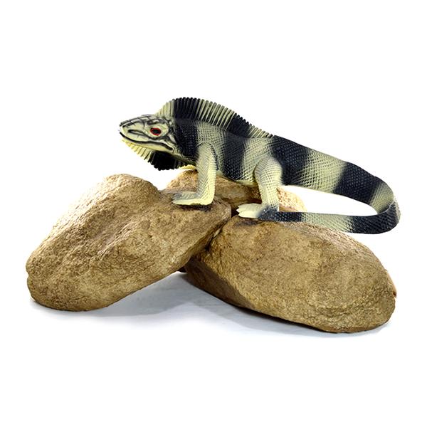 Iguana na pedra decoração grande enfeite jardim.