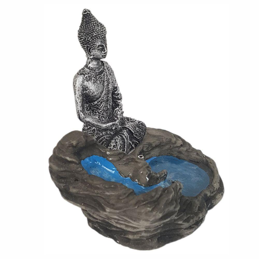 Incensário buda laguinho cascata meditando porta incenso.