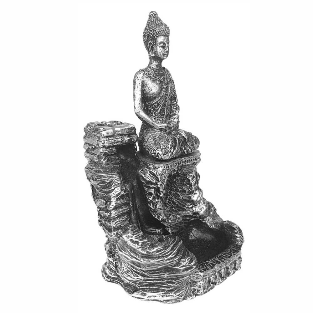 Incensário Buda Tibetano Cascata Porta Incenso Resina Prata