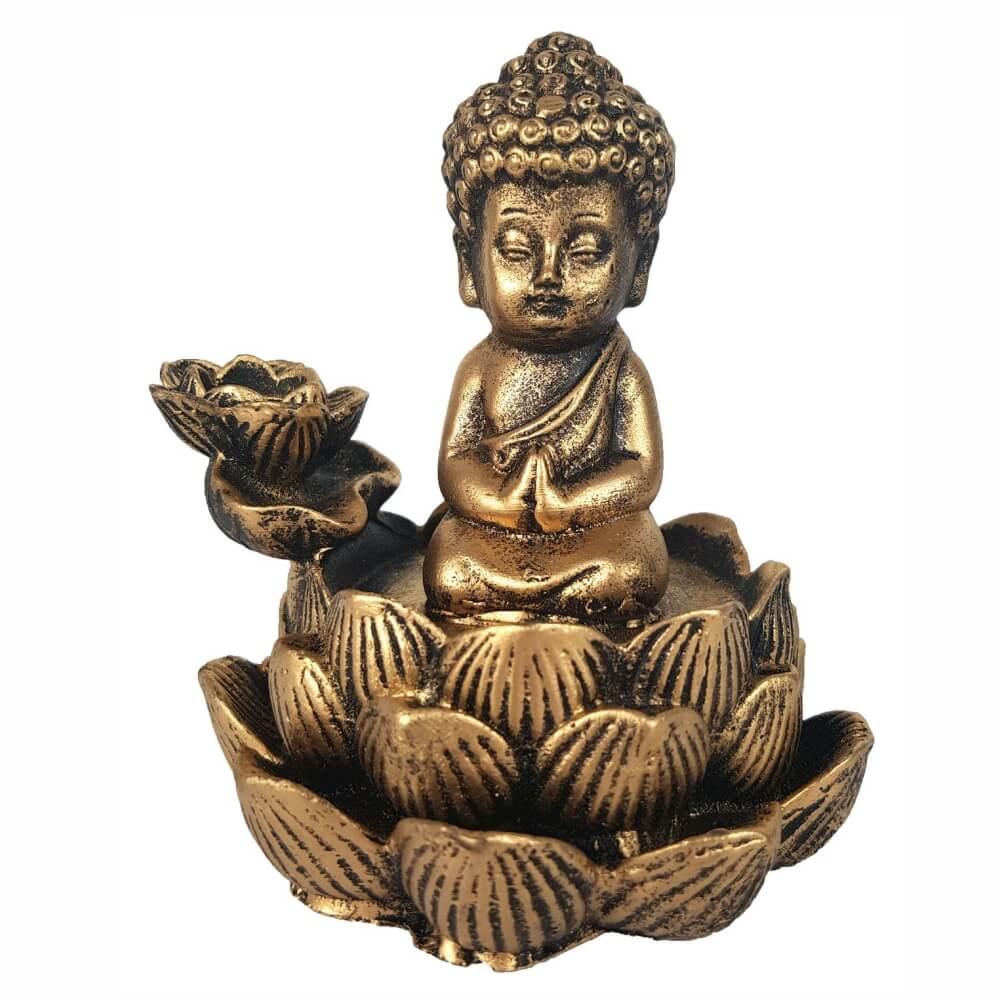 Incensário Cascata buda menino Flor de Lotus incenso Backflow.