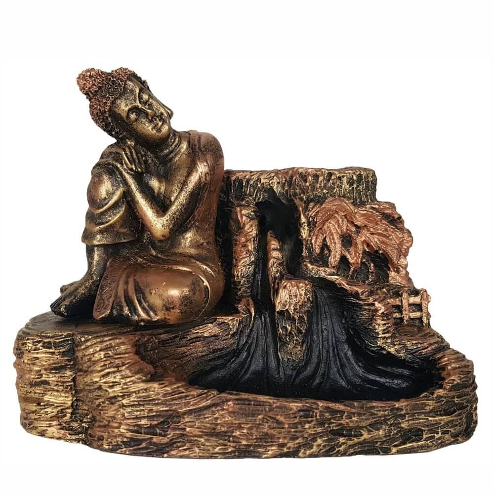 Incensário Cascata Buda Sonhador porta incenso Backflow Grande