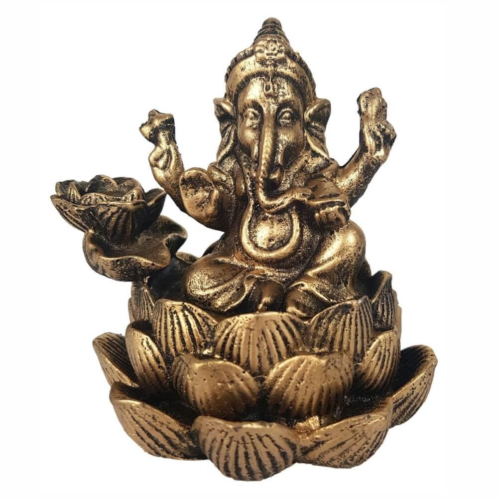 Incensário Cascata Ganesha Flor de Lotus incenso Backflow.