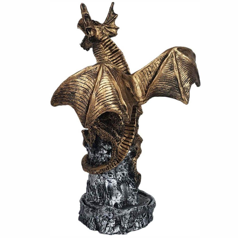 Incensário dragão na rocha grande porta incenso.