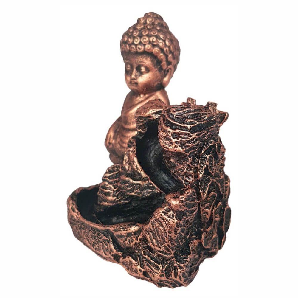 Incensário Porta Incenso Cascata Buda Menino Yoga Backflow Cobre