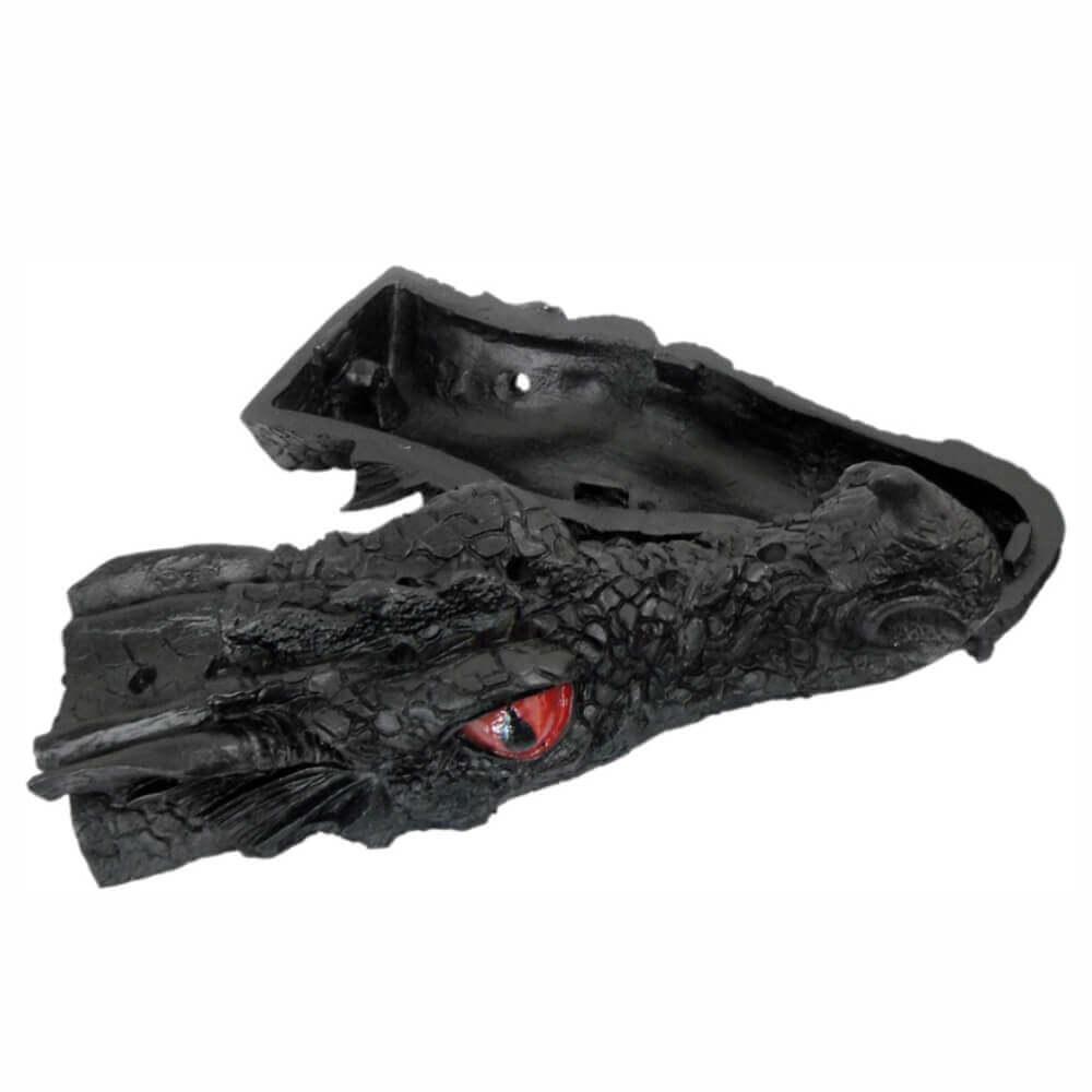 Incensário vareta cabeça de Dragão grande cor preto.