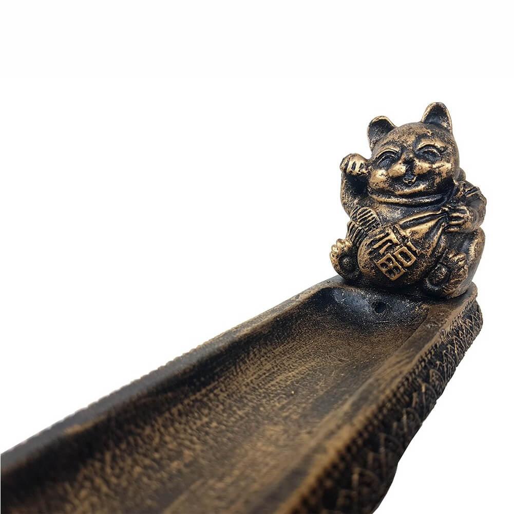 Incensário vareta Gato Chinês porta incenso em barra