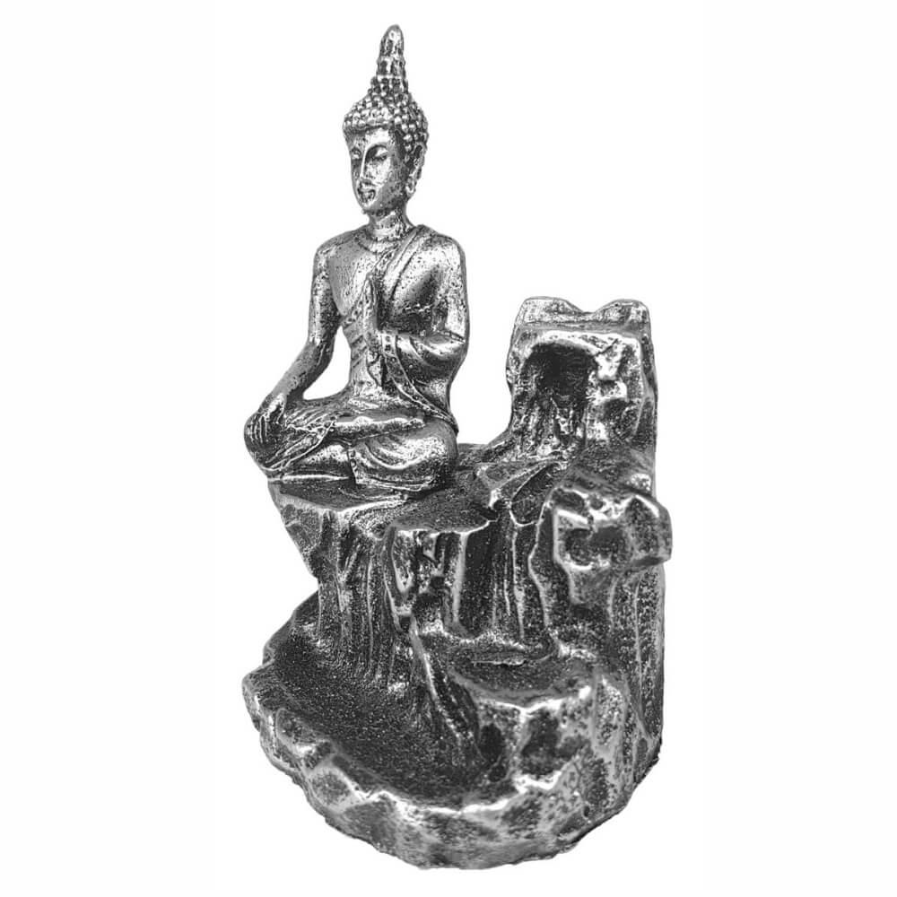 Porta Incenso Buda Hindu Paz Cascata Cachoeira Resina Prata