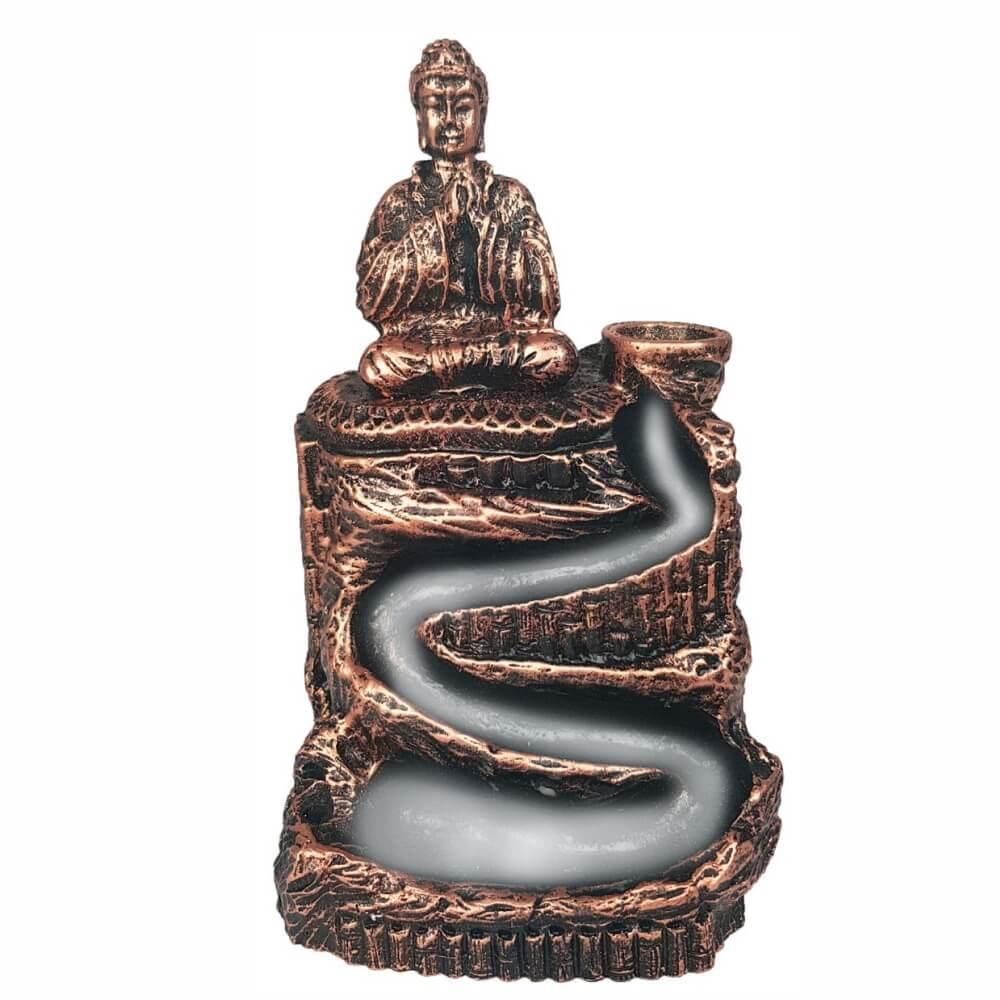 Porta Incenso Cascata Buda Hindu Orando Cachoeira Zen Bronze
