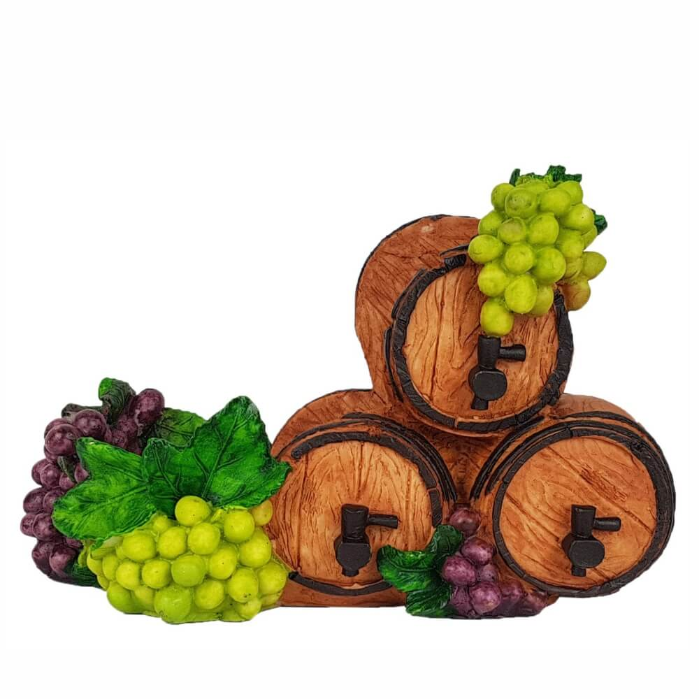 Porta vinhos Barril com Cachos de Uvas porta garrafa.