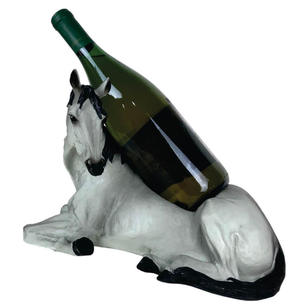 Cavalo Porta vinho Horse Decoração branco .