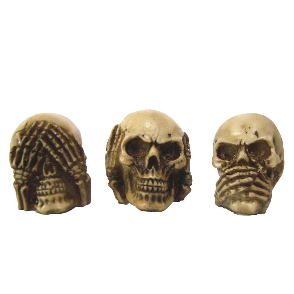 Caveira Crânio Trio Cego Surdo e Mudo.