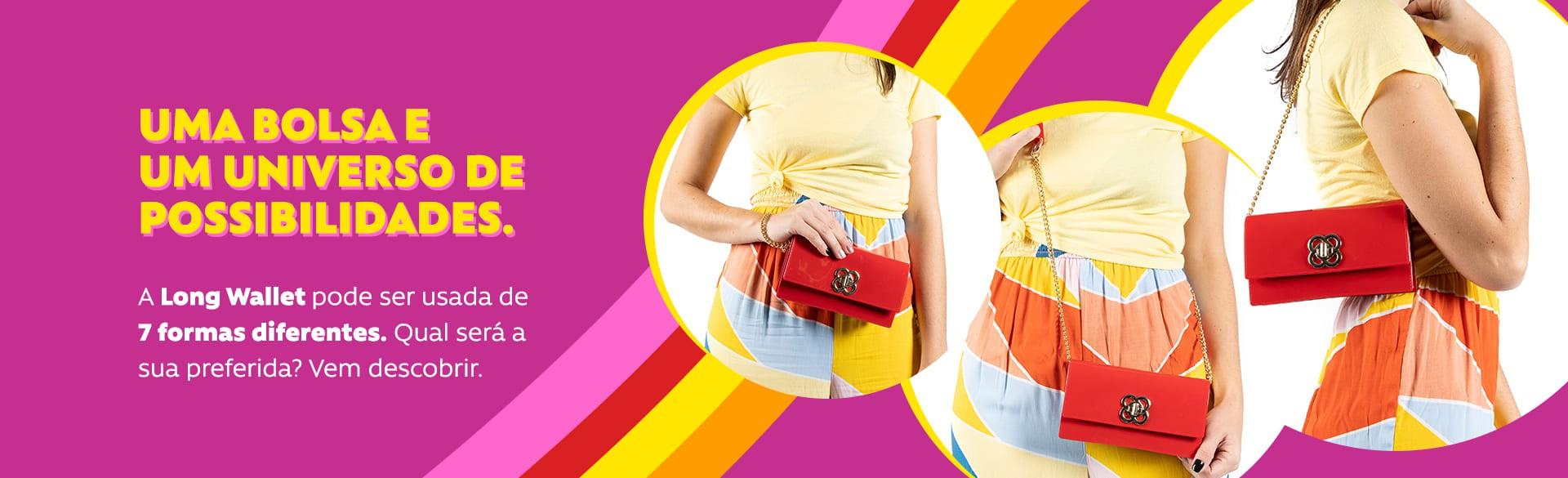 Bolsa Carteira Petite Jolie Long Wallet Clutch que Vira Pochete Rosa  - Prime Bolsas