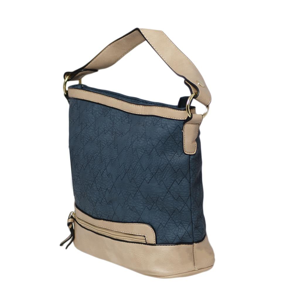 Bolsa Carteiro Azul Jeans e Alça Colorida e Carteira e Porta Cartões  - Prime Bolsas