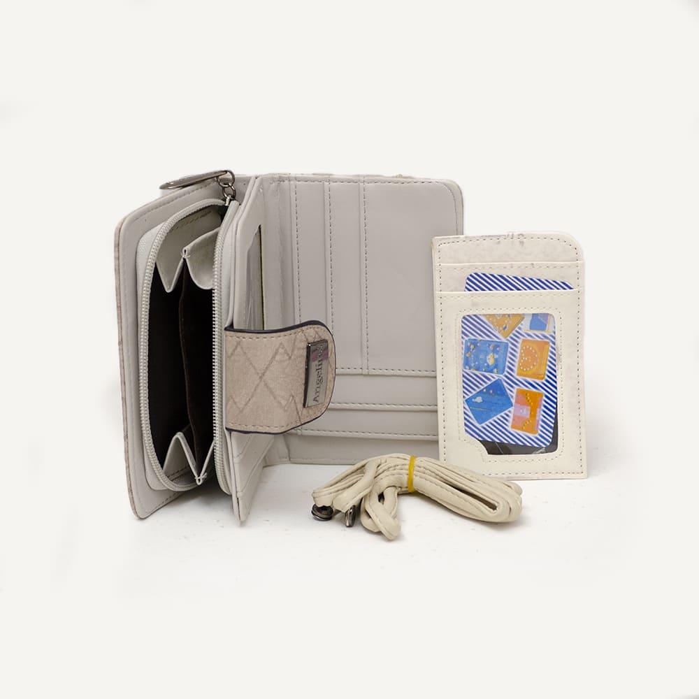 Bolsa Carteiro Marrom Claro e Alça Colorida e Carteira e Porta Cartões  - Prime Bolsas