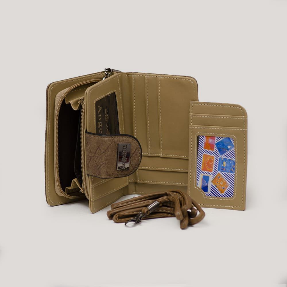 Bolsa Carteiro Marrom e Alça Colorida e Carteira e Porta Cartões  - Prime Bolsas