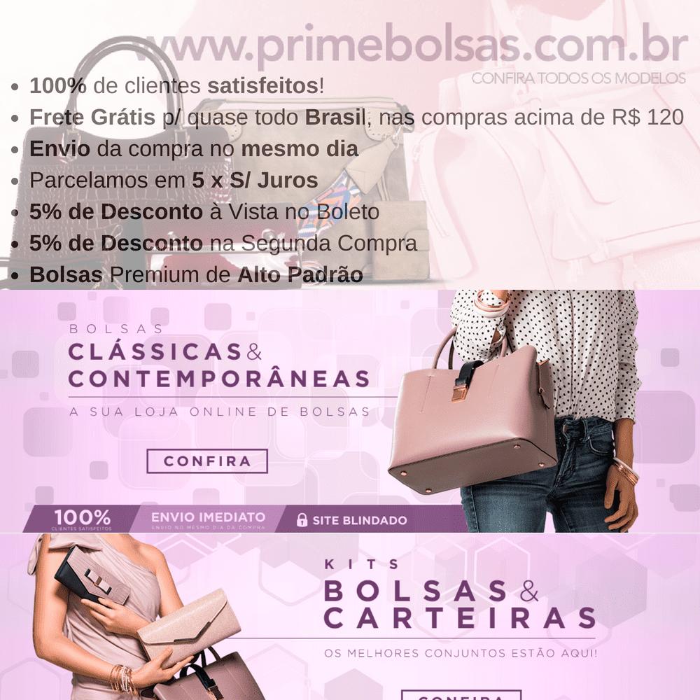 Bolsa Feminina de Ombro Rosa com Alça Removível  - Prime Bolsas
