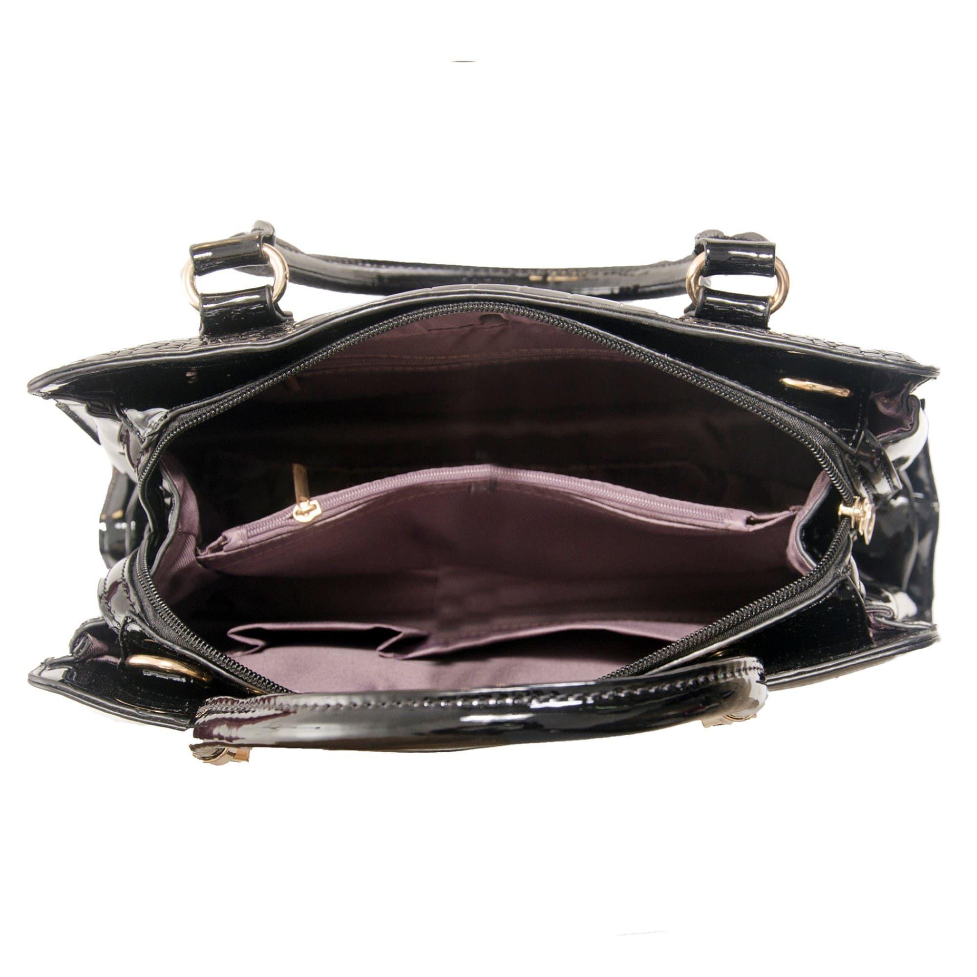 Bolsa de Mão Verniz Preta com Alça Removível e Bolsa Carteira Clutch  - Prime Bolsas