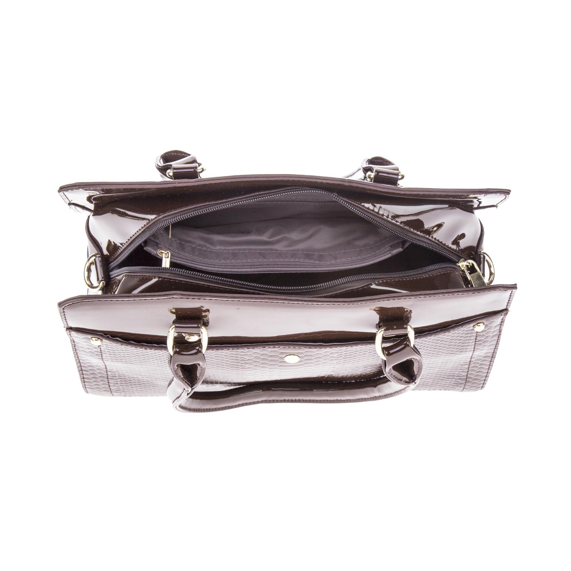 Bolsa de Mão Verniz Marrom Café com Alça Removível e Bolsa Carteira Clutch  - Prime Bolsas