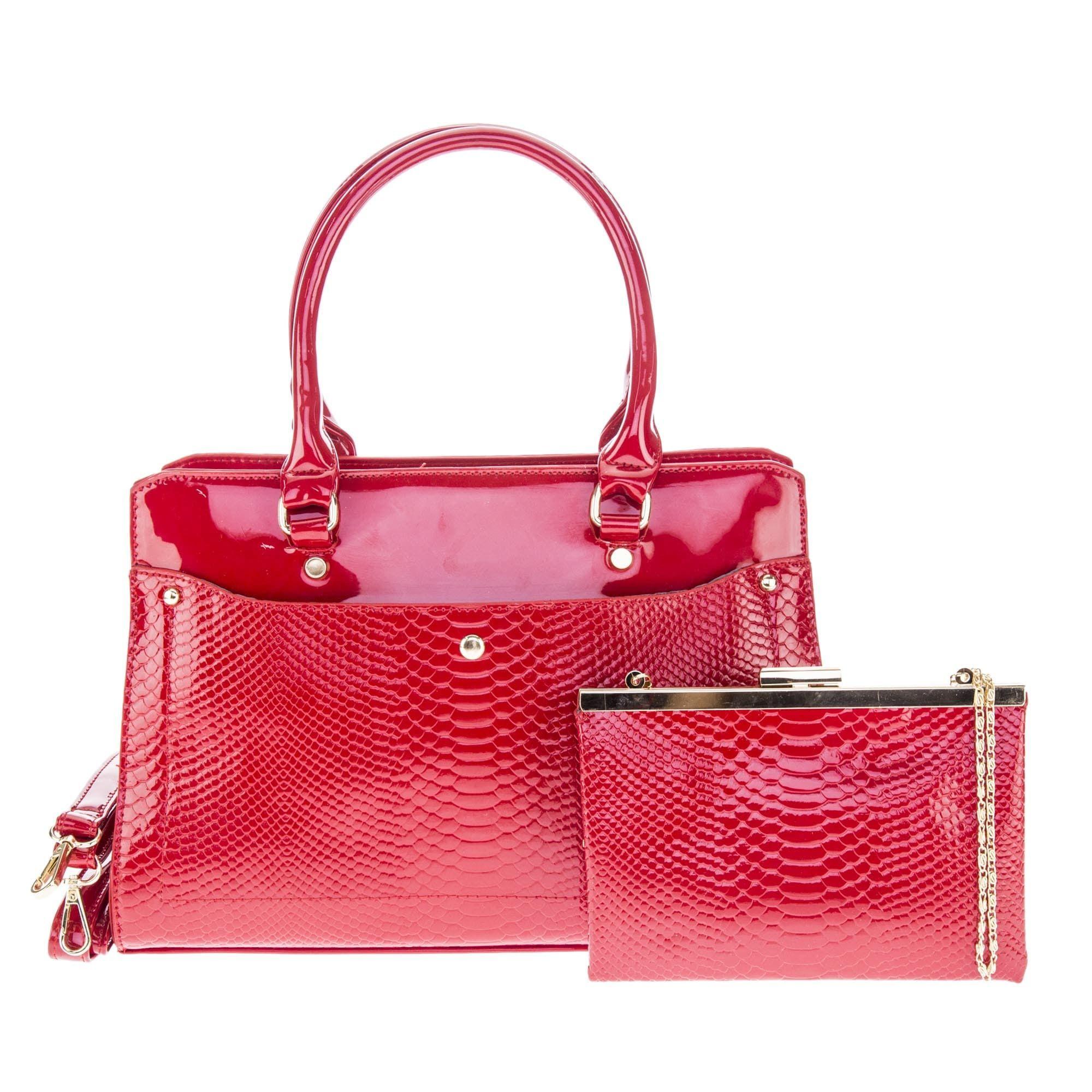 Bolsa de Mão Verniz Vermelha com Alça Removível  - Prime Bolsas