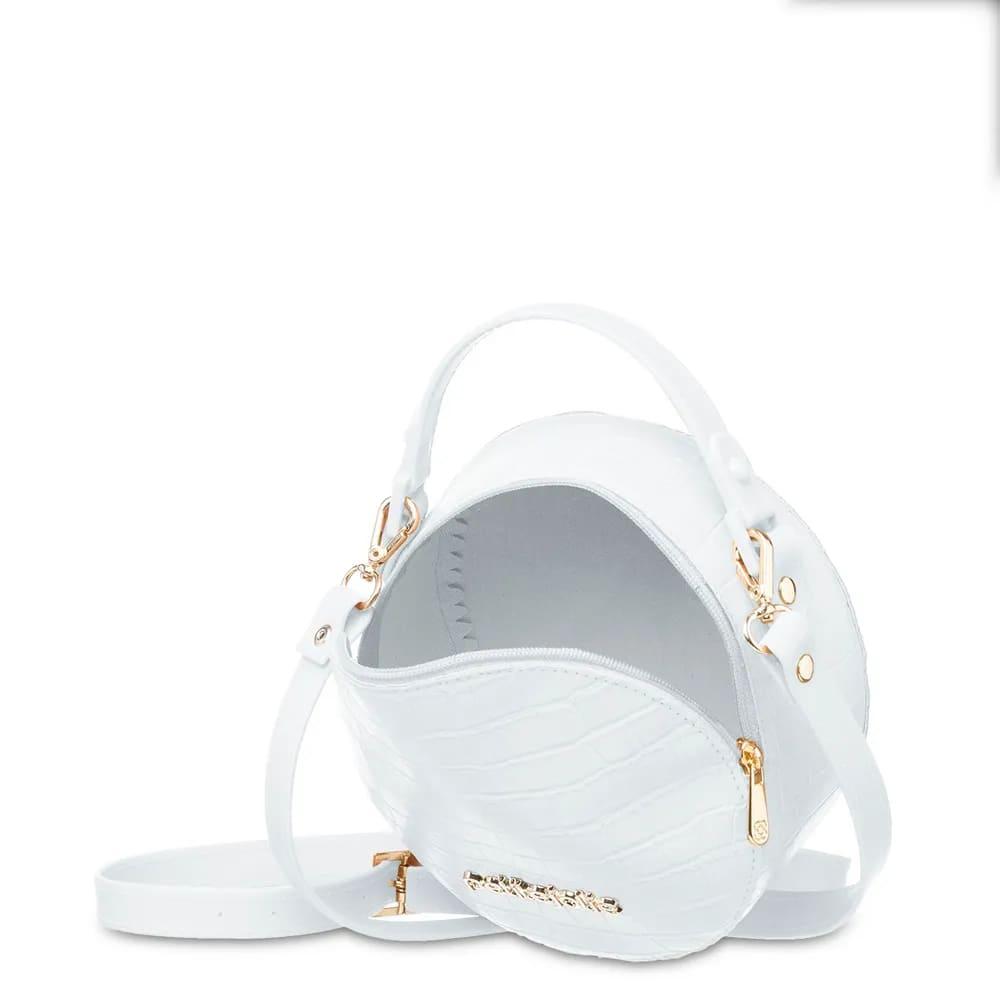 Bolsa Petite Jolie Pequena Redonda Mini Round Branca PJ4871  - Prime Bolsas
